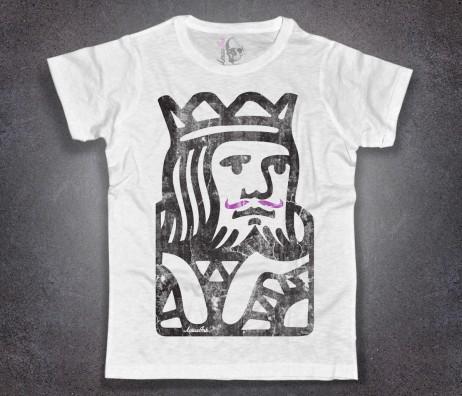 king poker t-shirt uomo raffigurante l'immagine stilizzata del re delle carte da gioco