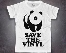 save the vinyl t-shirt uomo bianca raffigurante un panda stilizzato con il muso a forma di vinile