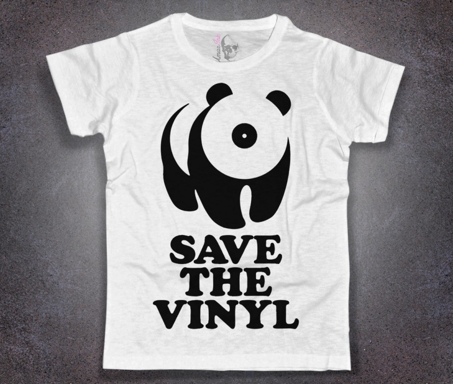 save the vinyl t shirt uomo disco panda amazink. Black Bedroom Furniture Sets. Home Design Ideas