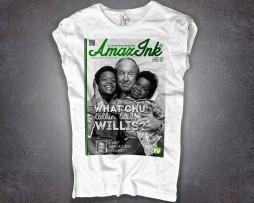 Arnold t-shirt donna bianca raffigurante Arnold, Willis e il signor Philip Drummond
