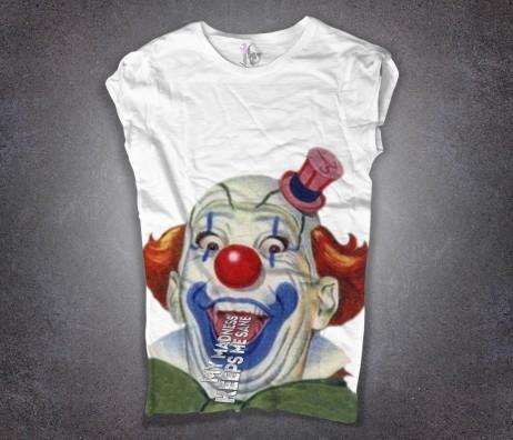 clown t-shirt donna bianca raffigurante un pazzo pagliaccio