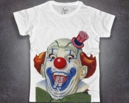 clown t-shirt uomo bianca raffigurante un pazzo pagliaccio