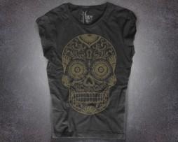 teschio messicano t-shirt donna nera in versione gold