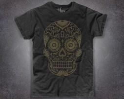 teschio messicano t-shirt uomo nera in versione gold