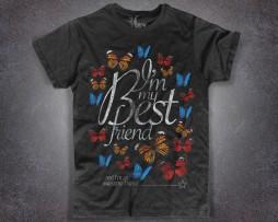 farfalla t-shirt uomo nera con la scritta I'm my best friend