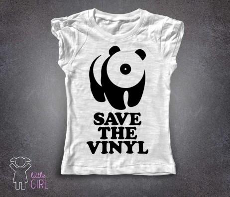 save the vinyl t-shirt bambina bianca raffigurante un panda stilizzato con il muso a forma di vinile