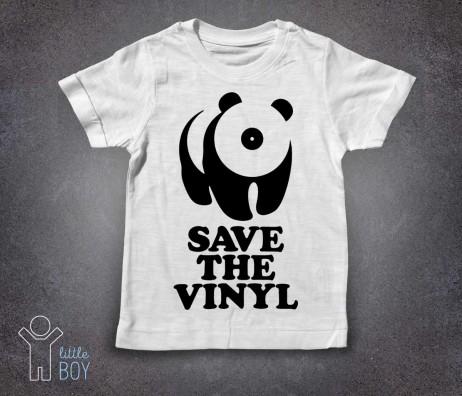 save the vinyl t-shirt bambino bianca raffigurante un panda stilizzato con il muso a forma di vinile