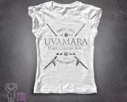 Local surf t-shirt bambina bianca del gruppo di surfisti Uvamara di Voltri Cerusa bay