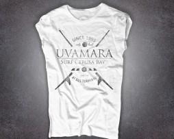 Local surf t-shirt donna bianca del gruppo di surfisti Uvamara di Voltri Cerusa bay