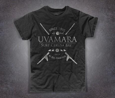 Local surf t-shirt uomo nera del gruppo di surfisti Uvamara di Voltri Cerusa bay