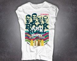point break t-shirt donna raffigurante le maschere dei 4 ex-presidenti con cui bodhi e i suoi compivano le rapine