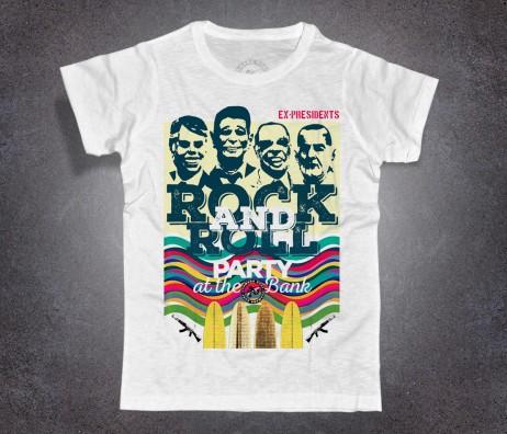 point break t-shirt uomo raffigurante le maschere dei 4 ex-presidenti con cui bodhi e i suoi compivano le rapine