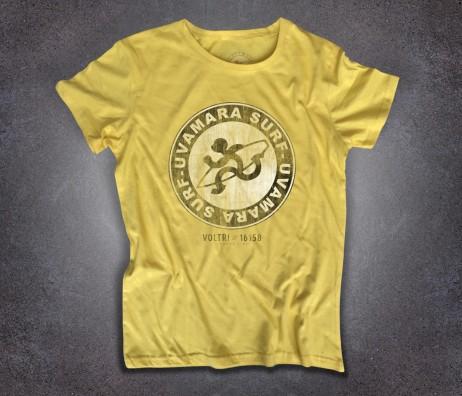 Uvamara surf t-shirt donna raffigurante la versione antichizzata del logo classico