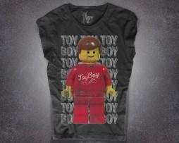 omino lego t-shirt donna nera raffigurante un minifigure in versione toy boy
