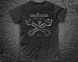 Cross Wrench t-shirt uomo nera Audacia Motori raffigurante due chiavi inglesi incrociate