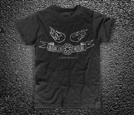 drape turbina t-shirt uomo nera raffigurante la turbina del logo Audacia Motori