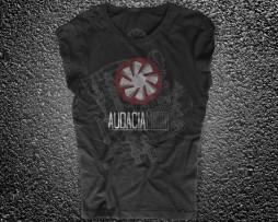 engine exploded view t-shirt donna nera raffigurante il logo di Audacia Motori e in trasparenza l'esploso di un motore