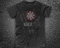 engine exploded t-shirt uomo nera raffigurante il logo di Audacia Motori e in trasparenza l'esploso di un motore