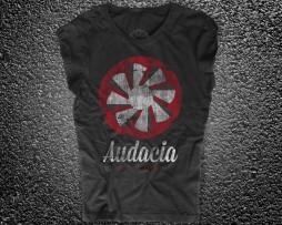 audacia motori t-shirt donna nera raffigurante la versione vintage logo