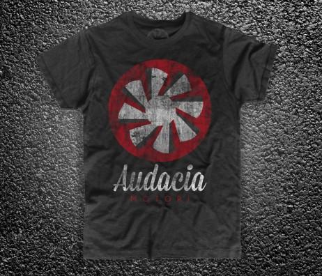 audacia motori t-shirt uomo nera raffigurante la versione vintage logo