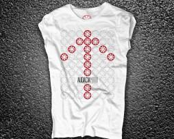 Audacia Motori t-shirt donna raffigurante il logo ripetuto a formare il disegno di una freccia