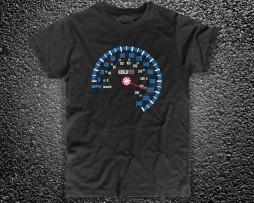 speedometers t-shirt uomo nera raffigurante un tachimetro stile audacia motori
