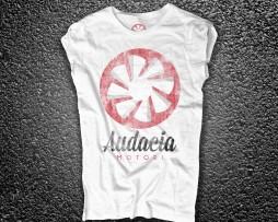 audacia motori t-shirt donna bianca raffigurante la versione vintage logo