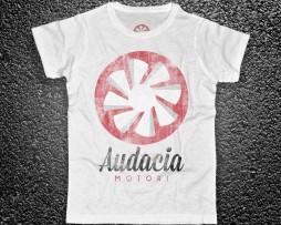 audacia motori t-shirt uomo bianca raffigurante la versione vintage logo