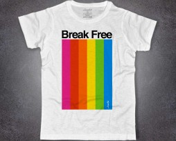 Color Spectrum t-shirt uomo bianca raffigurante strisce multicolore e la scritta Break Free