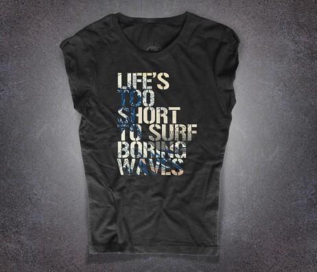Hokusai wave t-shirt donna nera con la scritta