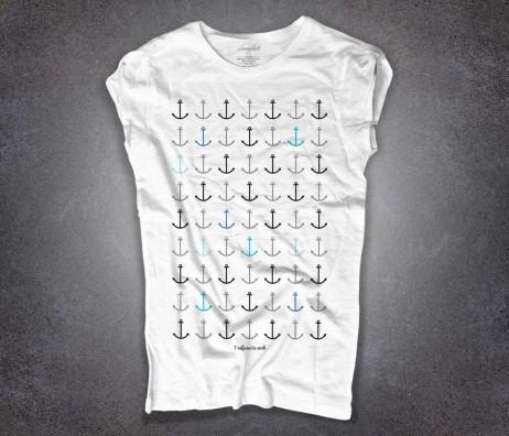 Ancore t-shirt donna bianca con scritta I refuse to sink