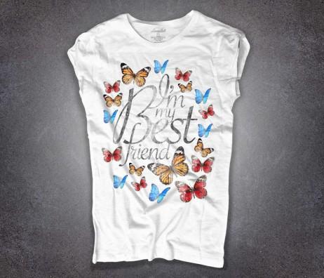 farfalle t-shirt donna bianca e scritta I'm my best friend