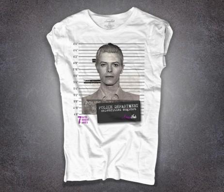 david bowie t-shirt donna bianca con stampa foto segnaletica mugshot david bowie