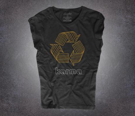karma t-shirt donna nera con il logo del riciclo